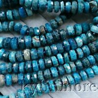 """8SE11147 6x14mm Natural Apatite Rondelle Faceted Loose Beads 15.5"""" Strand"""