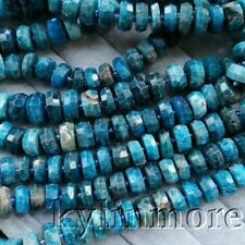 "8SE11147 6x14mm Natural Apatite Rondelle Faceted Loose Beads 15.5"" Strand"