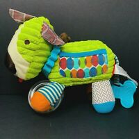 Skip Hop Plush Green Chenille Dog Rattle Teether Plush Developmental Toy Crinkle