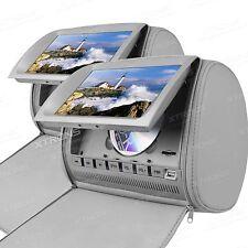 """XTRONS 2x 9"""" Kopfstütze Auto DVD Player HD Digital Screen mit Reissschluss Grau"""