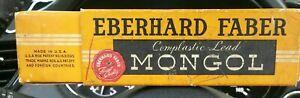c.1950s Eberhard Faber MONGOL PENCILS 480 Round No. 2 COMPLASTIC Box12 USA RARE