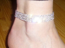 5 Row Silver Tone  Rhinestone Anklet / Ankle Bracelet Elasticated *NEW*