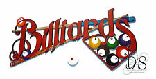 Red Billiards Sign, wall hanging,wall sculpture, game room, wall decor, pool art