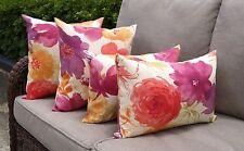 Floral Outdoor Pillows, Raspberry Orange Kiwi Purple Orchid Cream Pillows 4 Pk