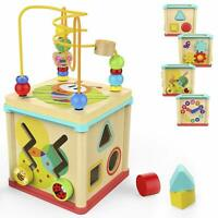 TOP BRIGHT Activity Cube Wooden Toys for One Year Old Girl and Boy Gifts