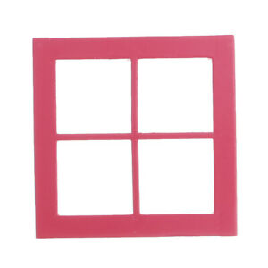 1/12 Dollhouse Miniature Wooden 4 Panes Window DIY Accessory Red