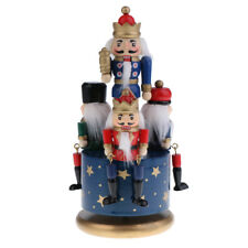 Hand Painted Wooden Nutcracker 4 Soldier Music Box Christmas Decor Kids Toy