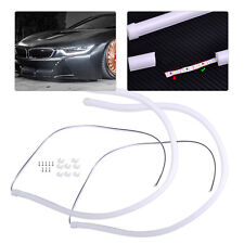 2PCS 60cm White Headlight Flexible Tube LED Strip DRL Daytime Ligh Fit Car New