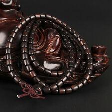 Mala Tibetano Rosario Buddista Buddha grani legno sandalo nero collana bracciale