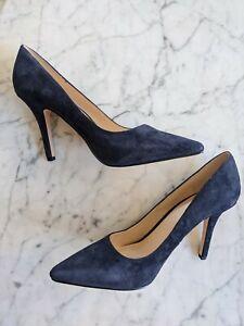 NIB Nine West  Jackpot Navy Blue Suede Leather Pointy Toe Pumps High Heels 9 M