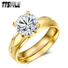 TTstyle 14K Gold Matt Stainless Steel Wedding Band Ring Size 6-9 NEW