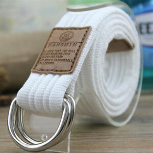 Mens Women Unisex Military Canvas Web Belt Double D-Ring Buckle Casual Waistband