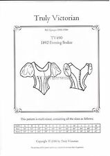 Truly Victorian TV490 1892 style evening bodice blouse top sewing pattern