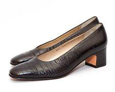 SALVATORE FERRAGAMO Black Croc Embossed Leather Slip On Heels Pumps Sz 5 B