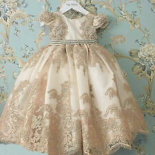 Vintage Christening Dresses Bead Pearls Antique Cute Baby Baptism Champagne Gown