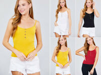 Women's Basic Button Cami Tank Top Soft Knit Solid Color Fitted Spaghetti Strap