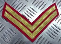 Genuine British Forces Braided Corporal Rank Stripes 2 Chevrons Gold on Red EPB8