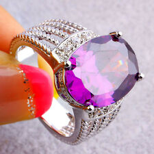 Estate Jewelry Gifts Oval Cut Amethyst & White Topaz Gemstone Silver Ring Size 8