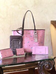 NWT 6PCS Coach Disney Reversible tote+wristlet+wallet+sm wallet+pouch+charm