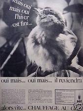 PUBLICITÉ 1964 GAZ DE FRANCE CHAUFFAGE AU GAZ - ADVERTISING