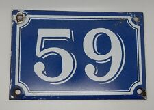 Vintage French Enamel on Steel Number 59 House Gate Door Plaque Plate