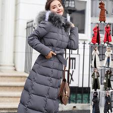 Women Full Length Winter Parka Jacket Down Cotton Puffer Coat Fur Long Hooded TP