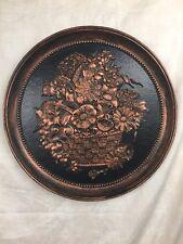 Vintage Coppercraft Guild Flower Basket Round Wall Plate Plaque Dart Ind.