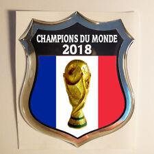 Autocollant France Champions du Monde 2018 Emblème Adhésif Drapeau 3D Résine
