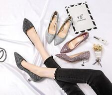 MW009928 - FASHION SHIMMER POINTY TOE LOW HEEL MEDIUM HEEL SHOES (SIZE 34 - 40)