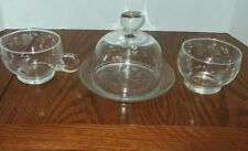 3 Pieces Floral Etched Glass Butter Dish-Dome Style Lid Sugar & Creamer Set