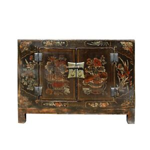 Oriental Chinoiseries Distressed Flower Black Low TV Console Cabinet cs5902
