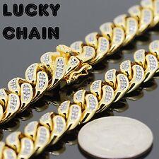 "8.2""18K GOLD FINISH ICED OUT LAB DIAMOND CUBAN LINK BRACELET 12mm 60g BR15"