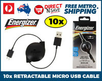10x Energizer Retractable USB to Micro USB Cable Sync Charge Smartphone Tablet
