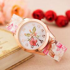 Women Girls Vintage Pastoral Pattern Silicone Printed Flower Causal Quartz Watch