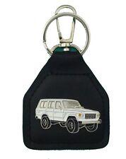 60 Series White Toyota Landcruiser  Leather Keyring / Keyfob