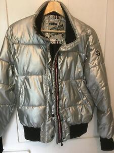 Puffa Original Duvet Clothing Co. Silver bomber style Jacket Size M/UK 12 JODIE