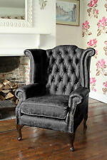 Chesterfield Queen Anne High Back Wing Chair in Vintage Black Leather