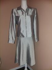 Focus 2000 Women's Career Gray Polyester 2 Piece Skirt Suit Size 8