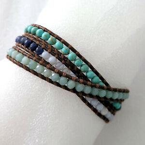 Chan Luu Wrap Bracelet Brown Leather Cord Turquoise Sterling Silver Triple Wrap