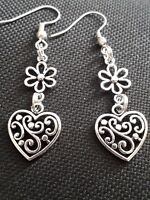 Silver Plated drop EARRINGS With Charm Daisy Flower Ornate Heart Unique Gift