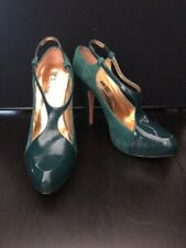 "Report Signature ""Lombard"" Green Suede Leather Platform Pump Women's Sz 7.5 M"