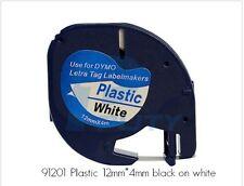 DYMO 91201 Letratag 12mm Plastic Label Tape Cassette, 1/2in X 13ft, Black/White