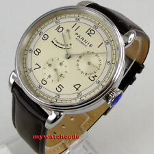 42mm PARNIS beige dial power reserve date window sea-gull automatic mens watch
