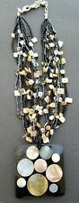Chicos Necklace Black Brown Multi Color 10 Strand Mother of Pearl with Medallion