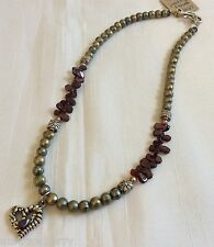 """Silver tone metal Genuine Garnet and Pearls Heart  pendant beads necklace 18""""L"""