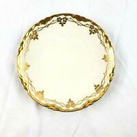 Vintage Hutschenreuther Bavaria Selb LHS Bread White Plate Gold Trim Mistletoe