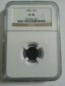 1852 3 Cent Silver VF 30 Graded and Preserved by NGC