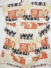 Vintage Japanese Silk Kimono Dress Robe Homongi, Abstract Flower K1040