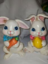 Vntg Hand Painted Paper Mache pair of Easter Bunny/rabbit Japan red foil label