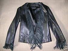 DiMagio Leather Jacket Black w/Fringe!!! Size SmallSALE